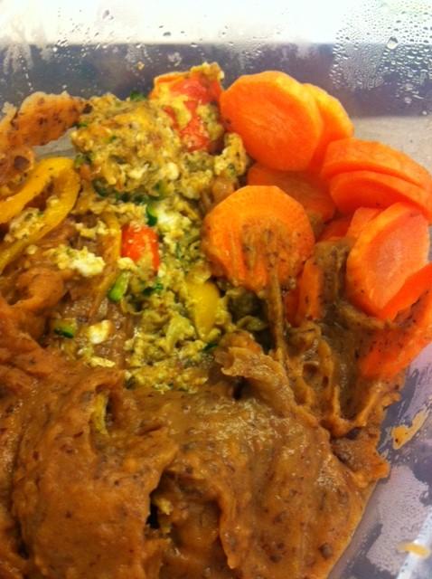 Mashed Sweet Potato&Red Kidnes Beans, 2 eggwhites, 1/2 Zucchini, 1 Carrot