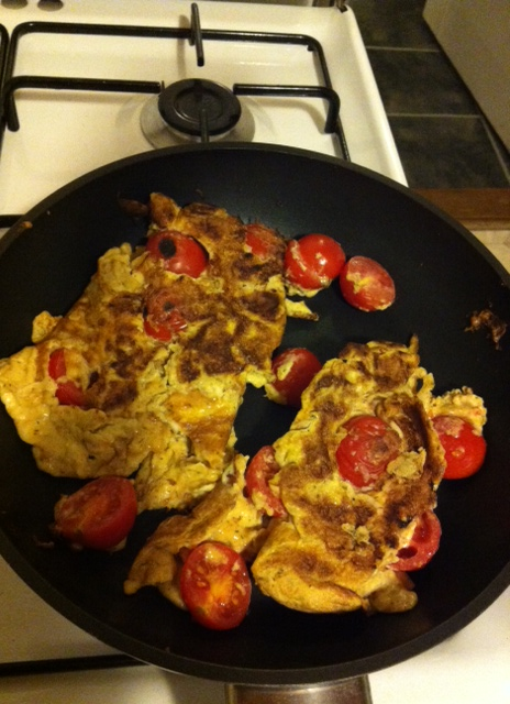 Messed up egg omelet with tomatoes #2