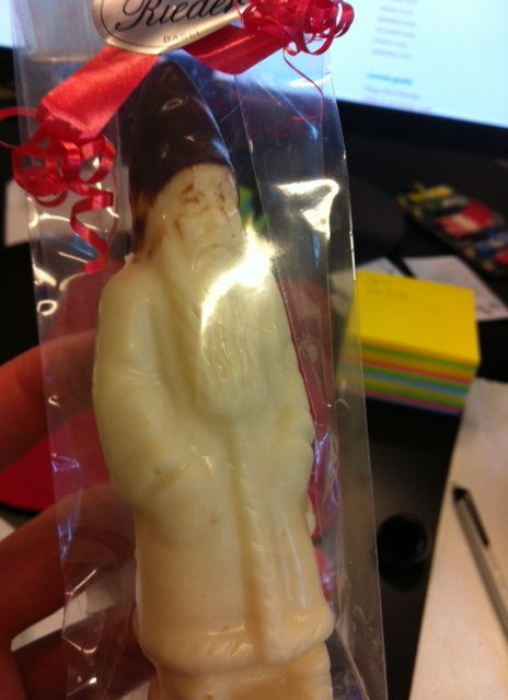 Swiss White Chocolate Santa Clause lived for only 1 day. Death by a feeding frenzy.