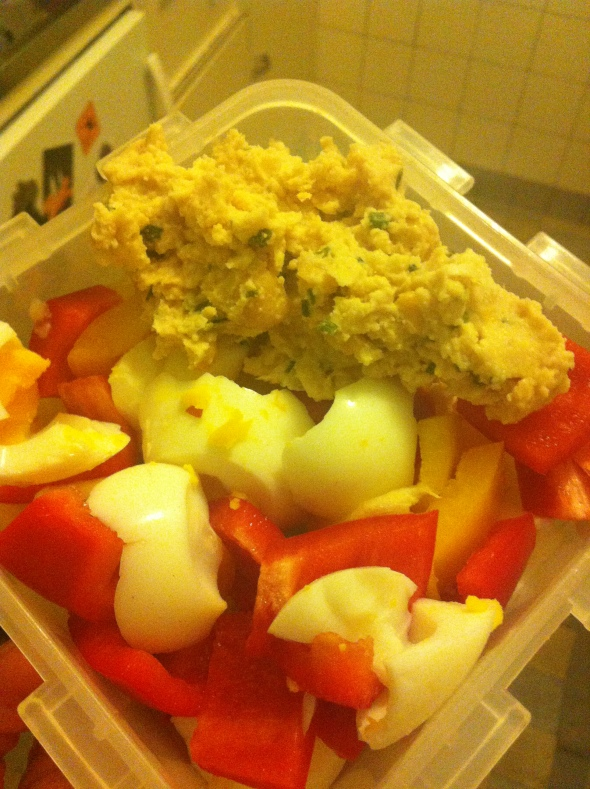 Hardboiled eggwhites, peppers, homemade Hummus