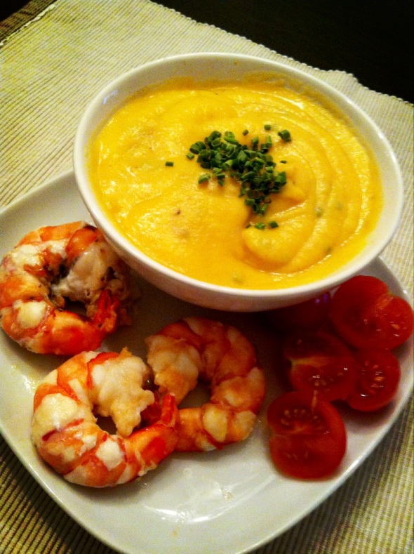 Mashed cauliflower-pumpkin-coconut-cream & roasted giant prawns