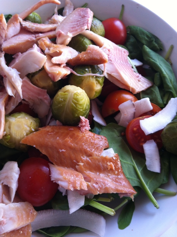 Spinach Salad, Smoked Trout, Brussel Sprouts. Cherry Tomatoes, Coconut Chips