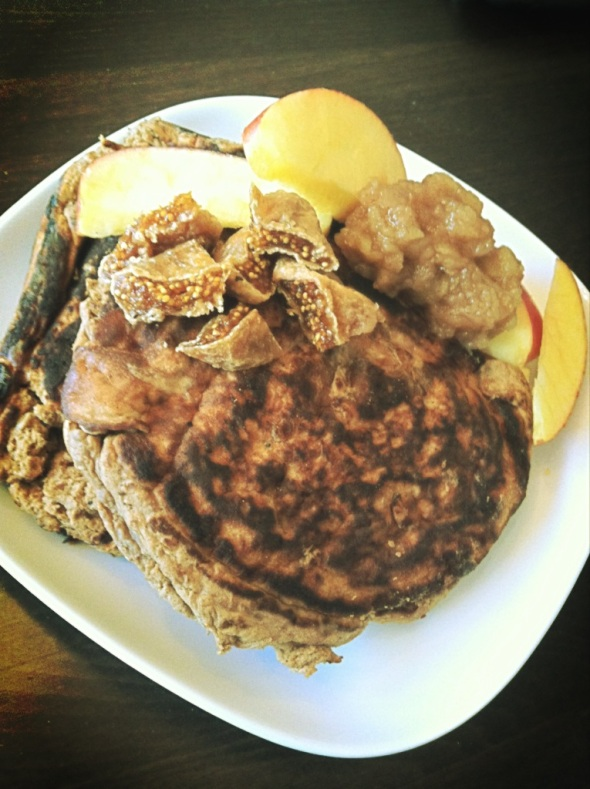 Banana-Protein-Pancakes (3 whites, 1 scoop Protein Powder, 1/2banana) with dried figs. homemade applesauce, appleslices