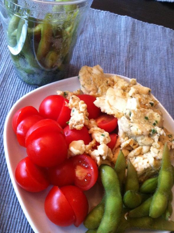 Fluffy scrambled eggs, cherry tomatoes, edamame