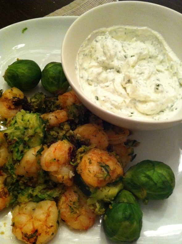Curried-Cocos-Shrimps with Brussel Sprouts and Horseradish-Chives-Dip