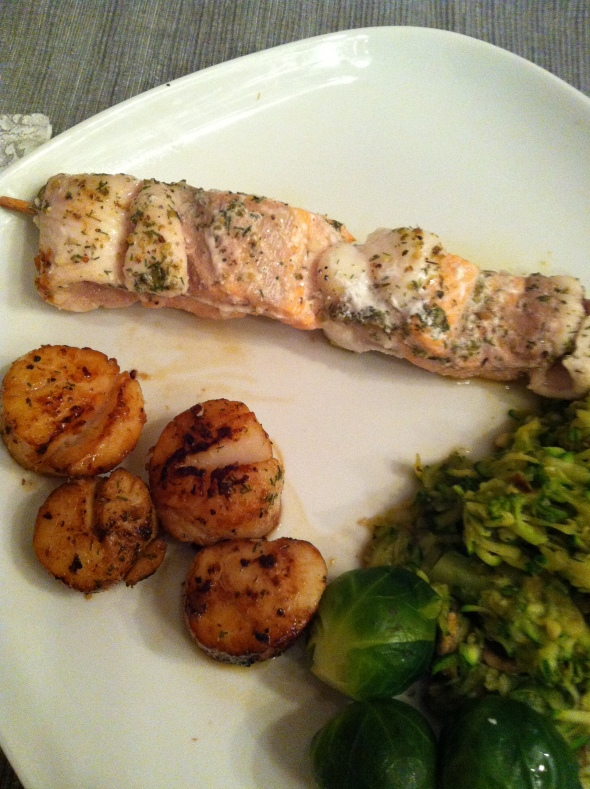 Salmon, scalops and greens