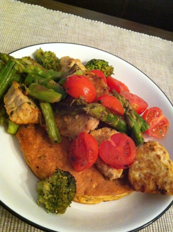 Tempeh, Steamed veggies, Coconut-Egg-Omelette