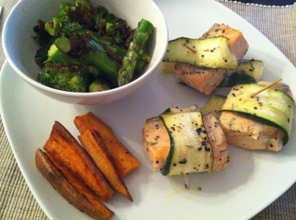 Marinated Zucchini-Salmon-Wraps, Sweet Potato Fries, Asparagus&Broccoli sauteéd in coconut milk