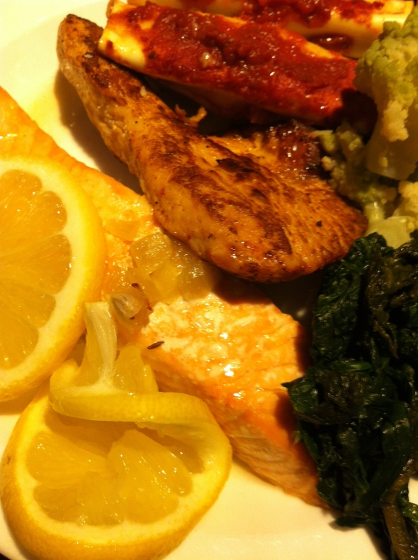 Turkeybreast, Steamed Salmon, Spinach, Stuffed Cannelloni with Spinach and Ricotta
