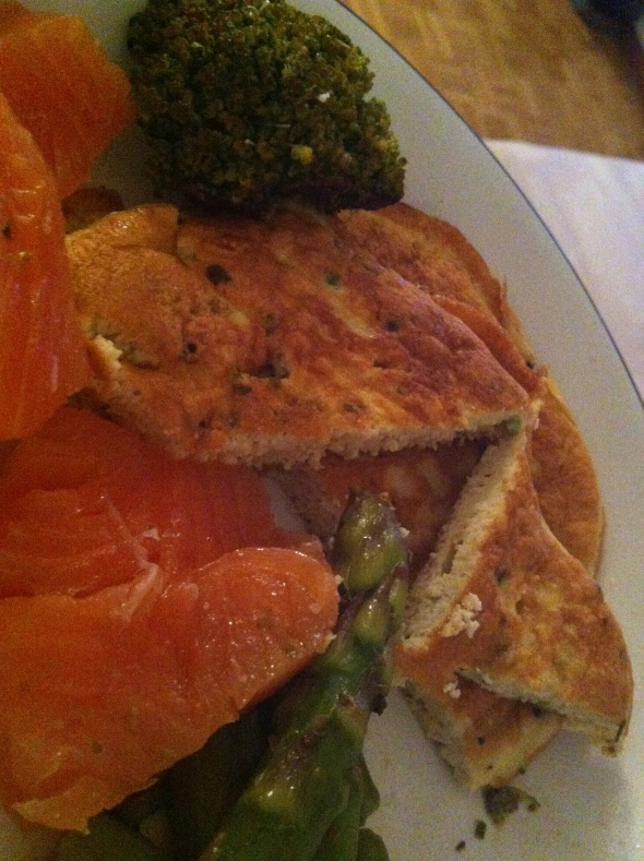 Coconut-Egg-Omelette, greens sauteed in coconutmilk, smoked salmon