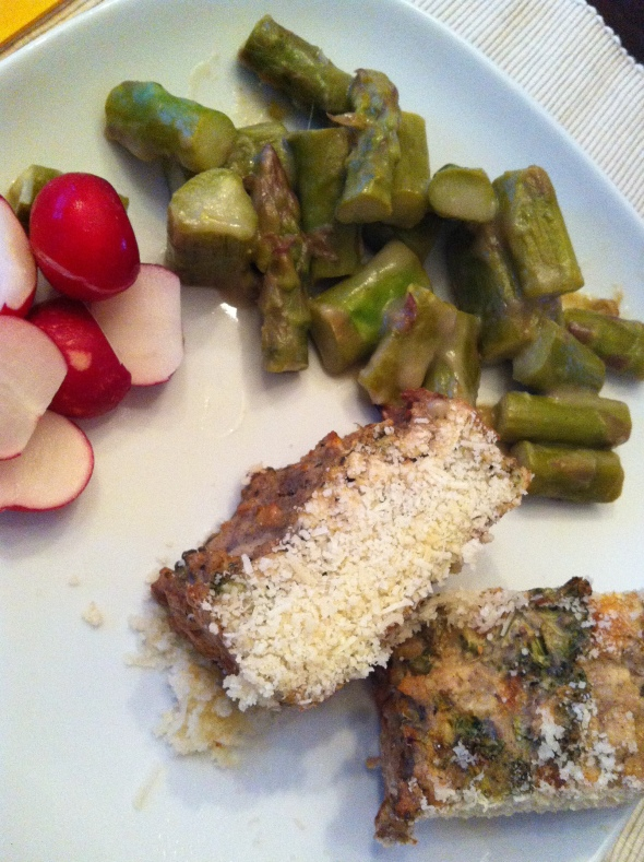 Chicken-Broccoli-Meatloaf sprinkled with Parmesan Cheese, Asparagus&Radicio