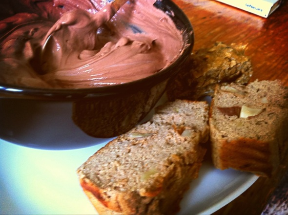 Banana Bread, 1/2 a Protein-Plum-Coconut Cookie, Curd-Pudding