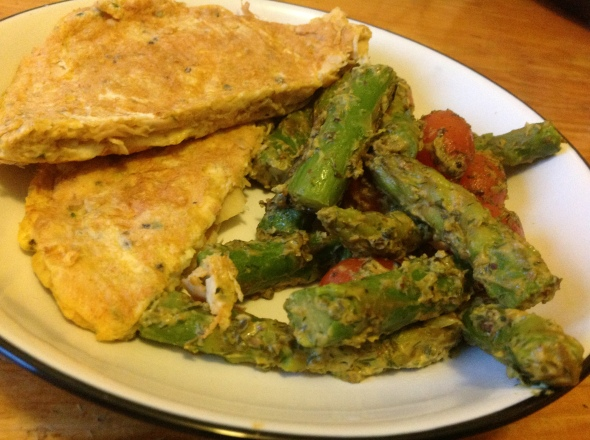 Savory chicken pancake & coconutmilk-veggies