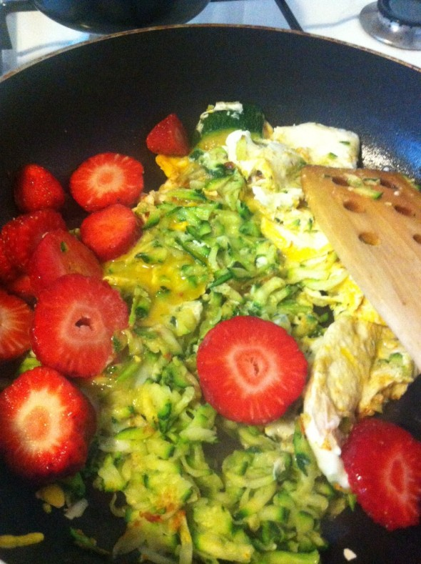 Eggs, shredded zucchini, strawberries