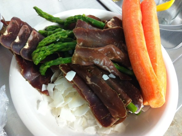 Baby Asparagus wrapped in organic Beef Jerky, unsweetened coconut flakes, 2 carrots