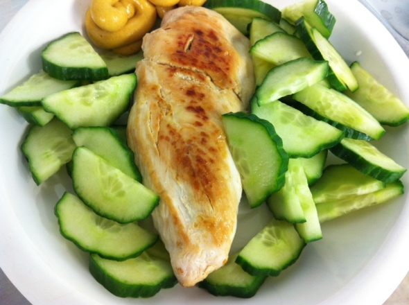 Roasted chicken, cucumber, Mustard