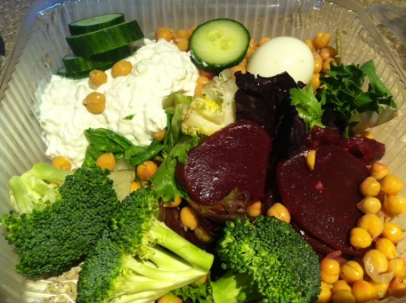 Salad Bar Choice from Stop'n Shop: Beets, Cottage Cheese, Lettuce, Broccoli, Chickpeas