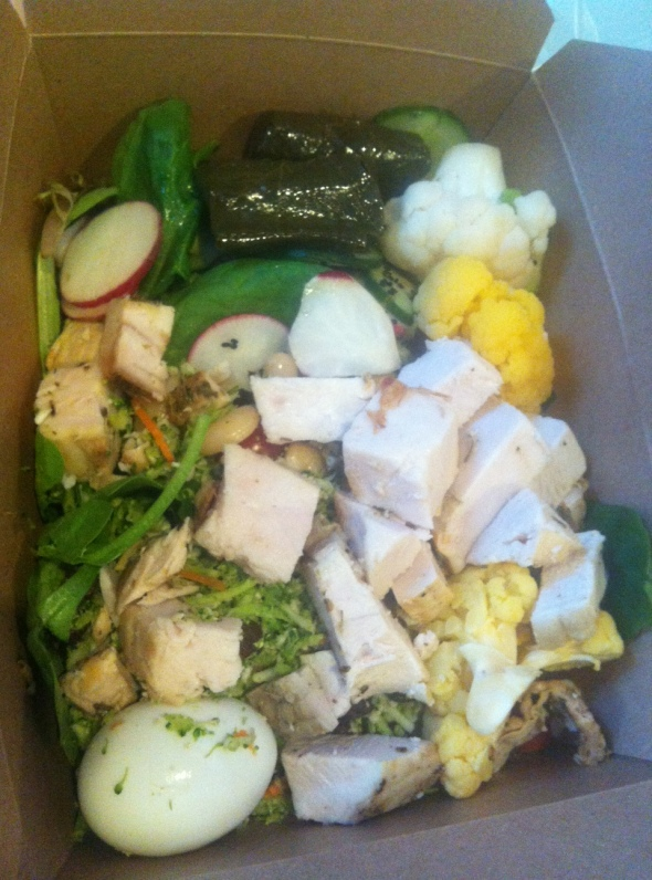 In the mix> Spinach, Kale, Detox Salad (shredded cauliflower, broccoli, celery and raisins), Radish, Cherry Tomatoes, Cucumber, Cauliflower, Grilled Chicken, Hardboiled Egg, Veggie-Stuffed Wineleaves