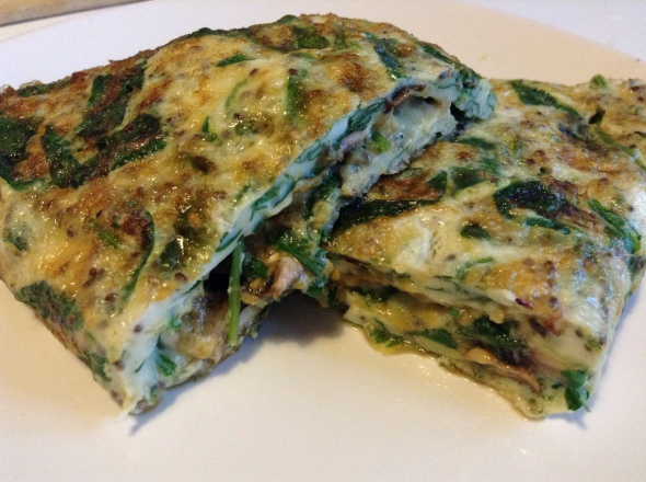 Eggwhite Omelette with Spinach, Mushrooms and Nutritional Yeast