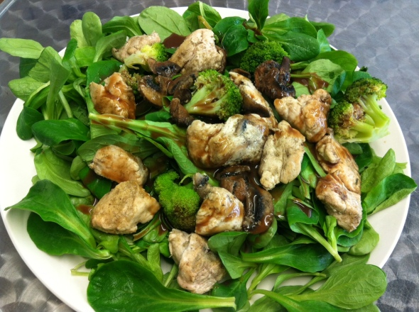 Summer-Greens with roasted chicken, mushrooms and Broccoli, drizzled with balsamic Dressing