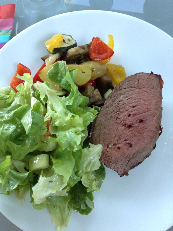 Argentine Picanha, steamed veggies, side salad