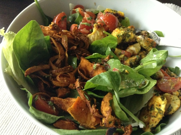 Sweet Potato 'Noodles', Spinach Salad, baked chicken, Avocado, Lemon-Mustard-Salsa on top
