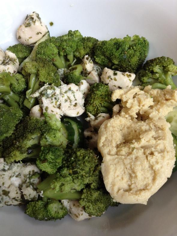 Bakes chicken, broccoli, hummus