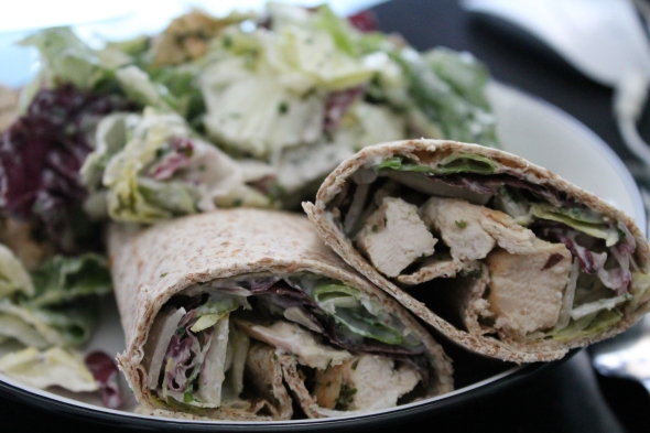 Whole Grain Tortilla with roasted chicken, salad and curd cheese - more salad, chicken&curd cheese on the side.