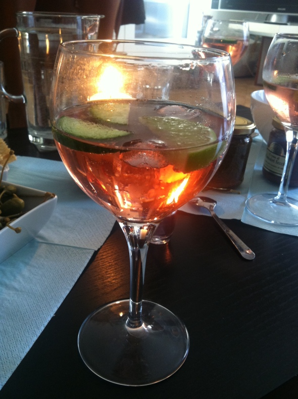 Roséwine with tonic, infused with lime, cucumber and ice