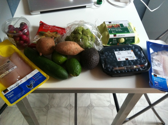 Groceries: Chicken, Sweet Potatoes, Cucumber, Blueberries, Eggs, Avocado, Limes, Radish, Codfish