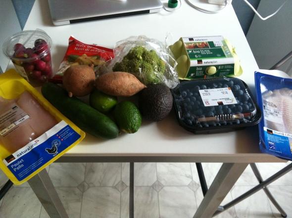 Groceries: Chicken, Sweet Potatoes, Cucumber, Blueberries, Eggs, Avocado, Limes, Radish, Codfish