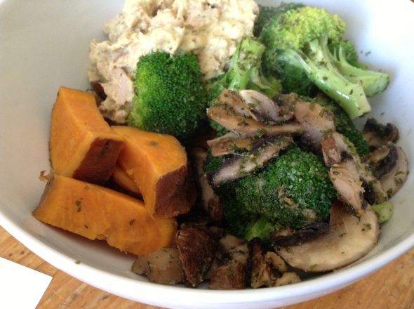 Tuna Salad (canned tuna mixed with greek yogurt), sweet potato, roasted veggies