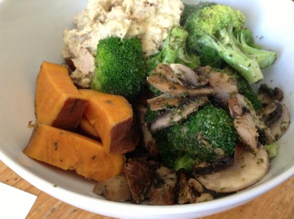 Tuna Salad (canned tuna mixed with greek yogurt), sweet potato, roasted veggies