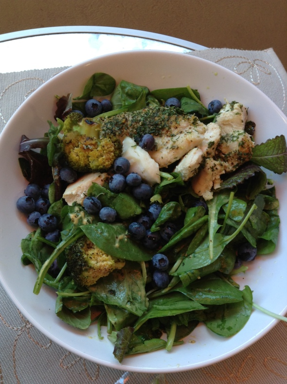 Topped with blueberries and baked codfish