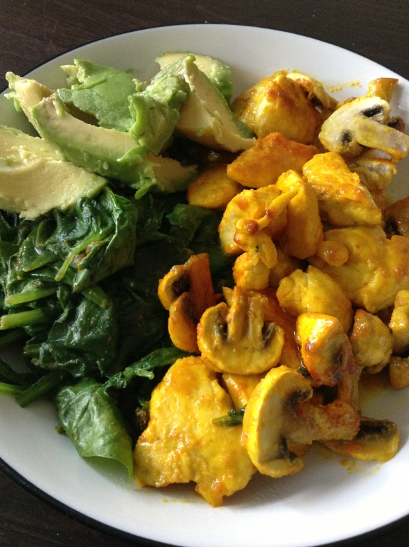 Saffron roasted Chicken&Mushrooms, with Avocado&Spinach