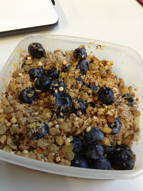 Eggy overnight oats with blueberries and Quinoa/Almond/Coconut Crunch