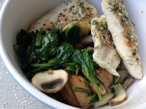Once again catfish with sauteed spinach&mushrooms