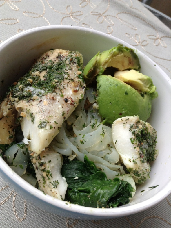 Shirataki Noodle Bowl with codfish, spinach and avocado