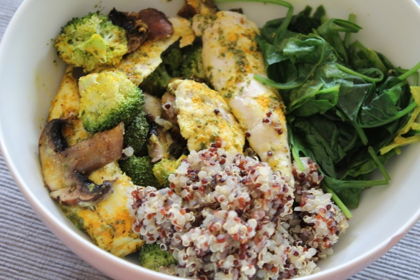 Tricolor Quinoa, in coconut milk baked chicken with mushrooms, broccoli, spinach