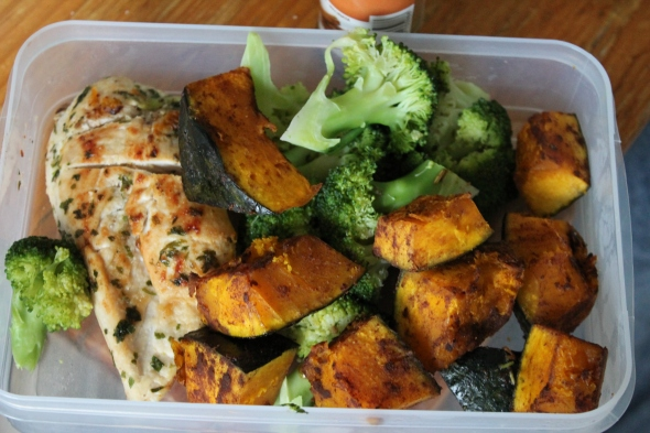 Garlic Chicken, more Kabocha Squash, Broccoli