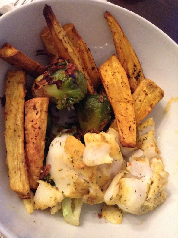 Parsnip Fries with codfish, roasted brussel sprouts and onions