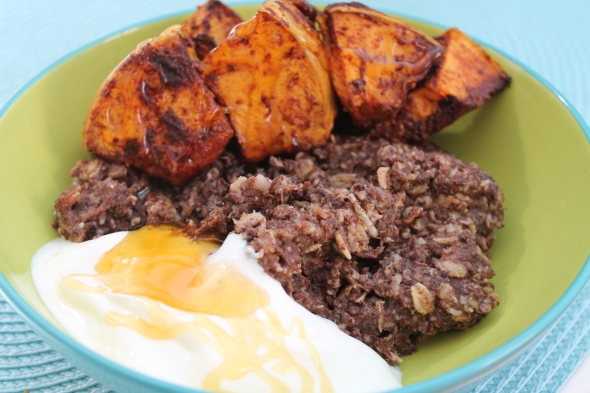 Chocolate Eggy Oats with roasted pumpkin plus greek yogurt drizzled with honey
