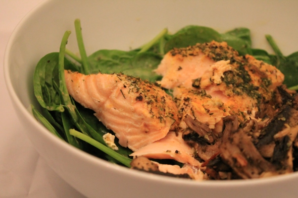 Spinach greens with light balsamic vignerette, baked salmon&roasted mushrooms
