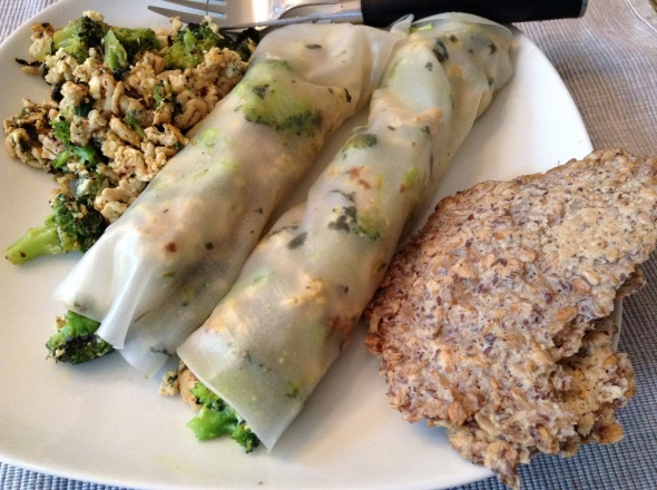 'Springrolls' filled with ground chicken and broccoli - more filling on the side, plus another mentioned flatbread.