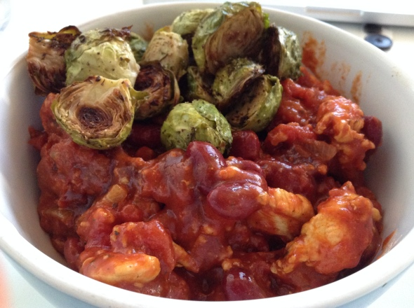 Warmed up Chicken Chilli plus warmed up Brussels Sprouts