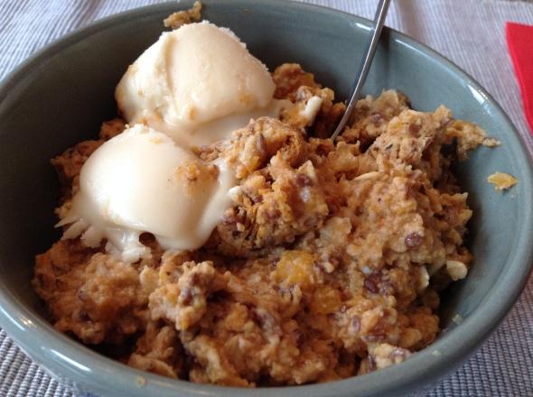 Apple Eggwhite Porridge with melting coconut butter