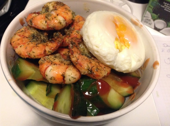 roasted giant prawns on cucumber salad and microwaved egg
