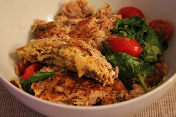 Tuna-Egg Patties with Sauteed spinach and baby tomatoes