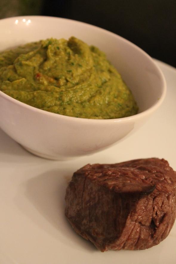 Mashed Cauliflower 'Potatoes' & Spinach, refined beef steak