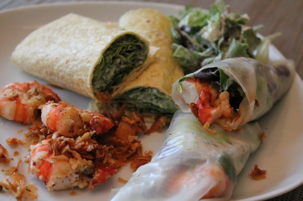 Corn Tortilla Wrap, Ricepaper Wrap, stuffed with salad, spiced quark and giant prawns